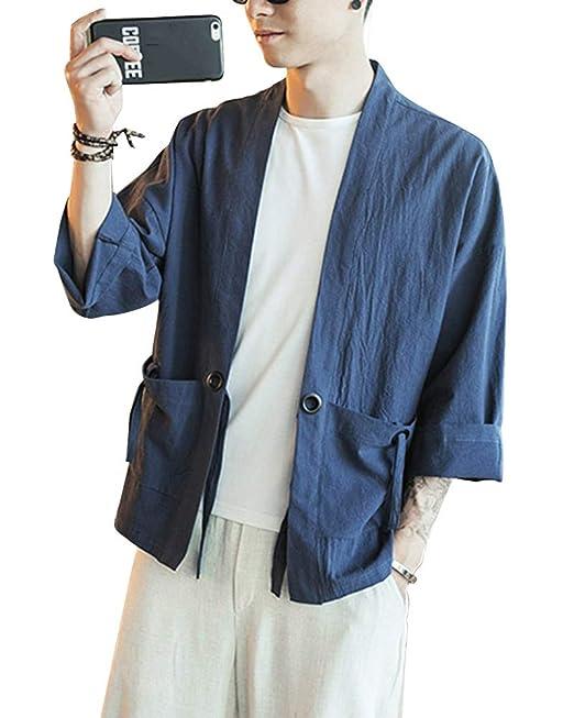 Liangzhu Hombres Camisa Chaqueta Retro Tradicional Estilo Chino Mezcla De Lino Abrigos Traje Tang Uniforme De Kung Fu Camisa Kimono: Amazon.es: Ropa y ...