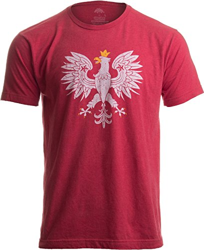 Poland Pride | Vintage Style, Retro-Feel Polish Eagle Polska Unisex T-shirt-Adult,2XL Heather Red ()