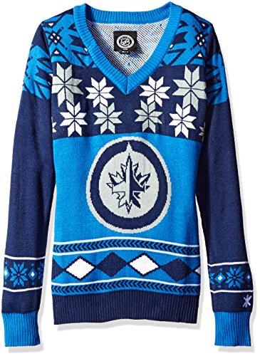 Forever Collectibles NHL Winnipeg Jets Women's Big Logo Pick Team V-Neck Sweater, Large