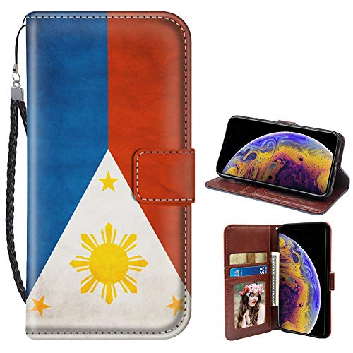 Philippines Flag iPhone Xs X Wallet Case for Kickstand PU Leather Card Slot Magnetic Flip Wristlet Phone Cover iPhone X 10 Xs Wallet Case Philippines Flag