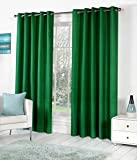 Geo Nature Polyester Blend 4x7 ft Door Eyelet Plain Curtains (Dark Green) - Set of 2