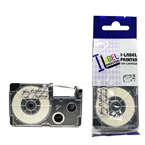 LM Tapes - Casio KL-60 9mm Black on Clear Compatible Label Tape for Casio KL60 EZ Label Printer