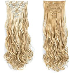 7pcs/set Clip in Hair Extensions 20inch Long Wavy Heat Resistant Kanekalon Synthetic Hairpiece Gifts for Girl Lady Women (Bleach Blonde 27/613#)
