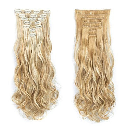 Beauty : 7pcs/set Clip in Hair Extensions 20inch Long Wavy Heat Resistant Synthetic Hairpiece Gifts for Girl Lady Women (Bleach Blonde 27/613#)