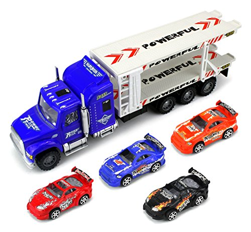 Speed Race Transport Trailer Children's Friction Toy Semi Truck Ready To Run 1:32 Scale w/ 4 Toy Race Cars (Colors May Vary)