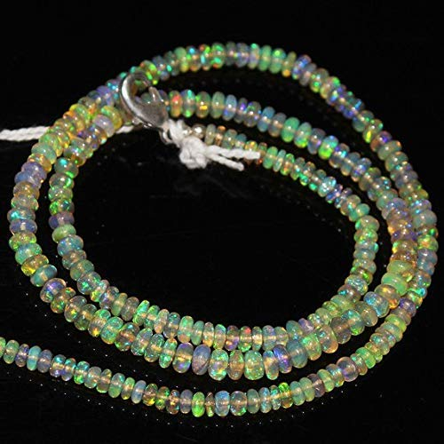 """Ethiopian Fire Welo Opal Smooth Rondelle Loose Gemstone Craft Beads Strand Necklace 16"""" 3mm 4mm by Gemswholesale"""