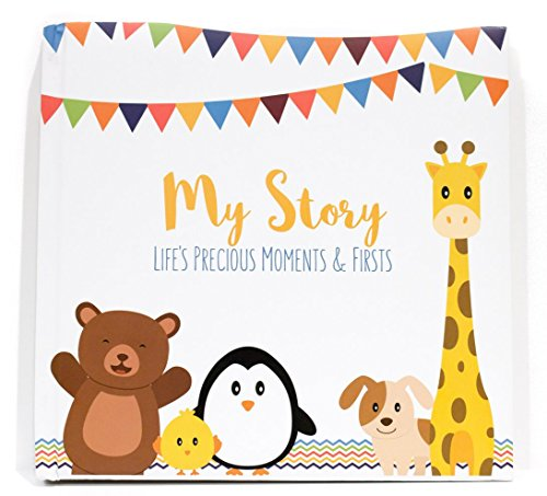 First Year Baby Memory Book & Baby Journal (3 Color Styles Available). Perfect for Boys or Girls Baby Shower Gift. First 5 Years Scrapbook, Keepsake & Photo Journal. Unisex, Little Animals from LovelySprouts