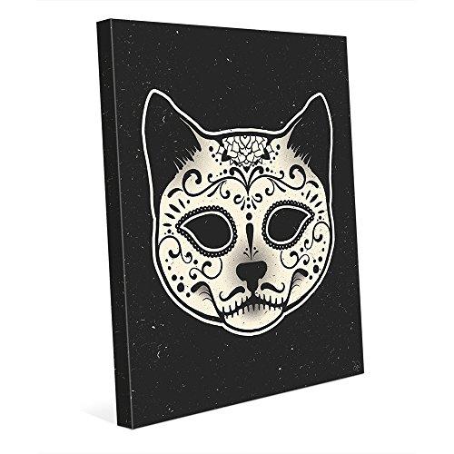 Sugar Skull Mask Cat Face - Dia de los Muertos Calavera in White on Black - Day of the Dead Wall Art Print on (Face Wall Art Mask)