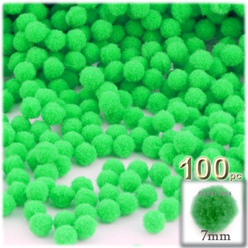 The Crafts Outlet 100-Piece Multi Purpose Pom Poms, Acrylic, 7mm/0.28-inch, Round, Lime Green