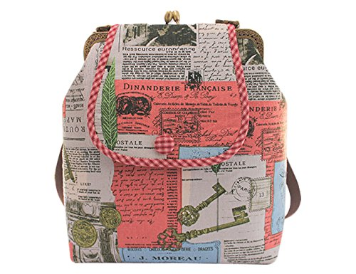 Girls Vintage Newspaper Pattern Messenger Shoulder Bag Beginner Sewing Project Sewing Starter Kits (Pink)