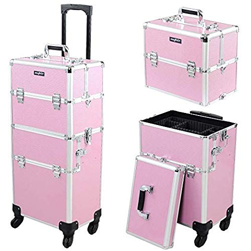 Mefeir 2-IN-1 Rolling Makeup Train Case w Extra Bottom Lid,4 Removable Wheels Travel Lift Handle Strap,Lockable Beauty Cosmetic Trolley Artist Salon Stylist Organizer,Pink