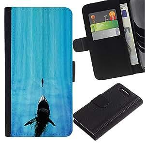 Protector de cuero de la PU de la cubierta del estilo de la carpeta del tirón BY RAYDREAMMM - Sony Xperia Z3 Compact - Tiburón de mandíbula
