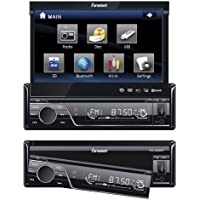 Fahrenheit TID-893B In Dash Source Unit DVD Player Single DIN with 7 - Inch Touchscreen Flip Out Monitor with Bluetooth
