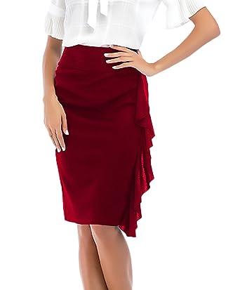 Falda Tubo Mujer Elegantes Moda Color Sólido Cintura Clásico ...