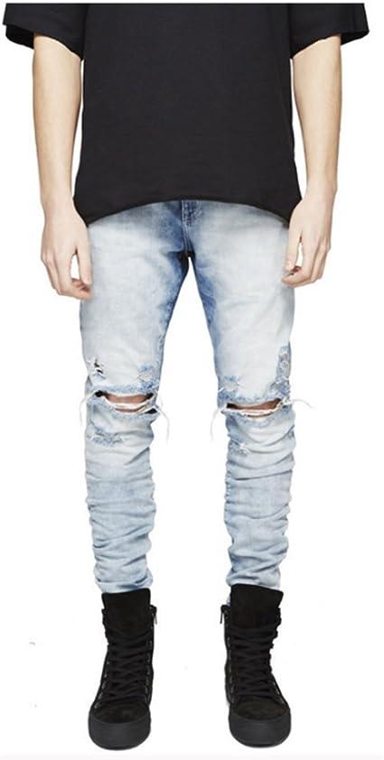 Herren Destroyed Slim Fit Distressed Jeanshose Ripped Stretchy Jeans Denim Hosen