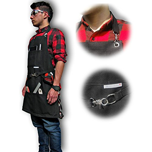 BEST CHOICE Waterproof All-Purpose Bib Apron - Workshop Waxed Canvas - 7x Pockets & 2 Shackles for Accessories & Tools - Totally Adjustable Neck and Waist Strap - Size S-XXL for Men & Women. by JFR USA Collection (Image #2)