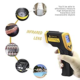 Etekcity Lasergrip 774 Non-contact Digital Laser IR Infrared Thermometer Temperature Gun, Yellow/Black (Certified Refurbished)