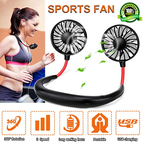 Neck Fans Mini Portable Outdoor Fan Personal Fan USB Battery Operated Rechargeable Neckband Fan for Sports Travel Camping Cool Zephyr Mini Fan