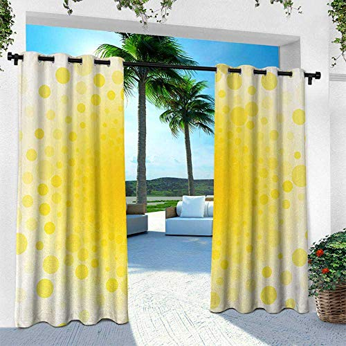 Hengshu Yellow, Patio Curtains,Abstract Small Circular Dots Patterns and Forms Centered Sun Spot Decorative Art Home, W96 x L96 Inch, Yellow
