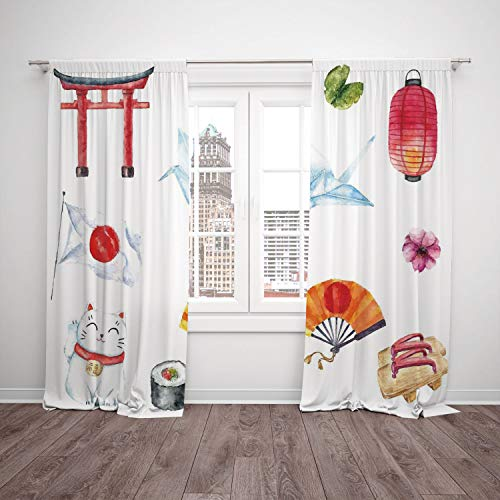 Thermal Insulated Blackout Window Curtain,Japanese,Hand Drawn Traditional Elements Watercolors Torii Gate Origami Bird Flag Lacky Cat,Multicolor,Living Room Bedroom Kitchen Cafe Window Drapes 2 Panel