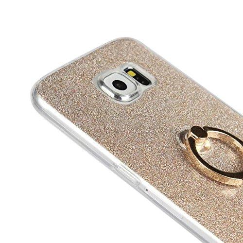 Silicone Flexible Soft TPU Housse Galaxy Samsung Bling Fingerring Color support Sparkle S6 Blue Luxe Glitter pour Étui avec White CqXAw0x