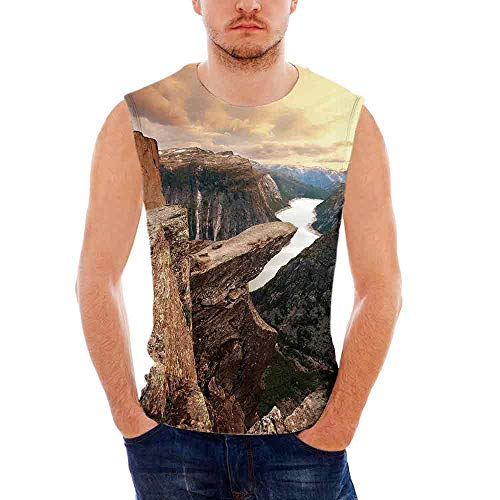 Leggings Canyon Denim (iPrint Mens Sleeveless Apartment Decor T- Shirt,Nothern Mountains Canyon Landscape with)