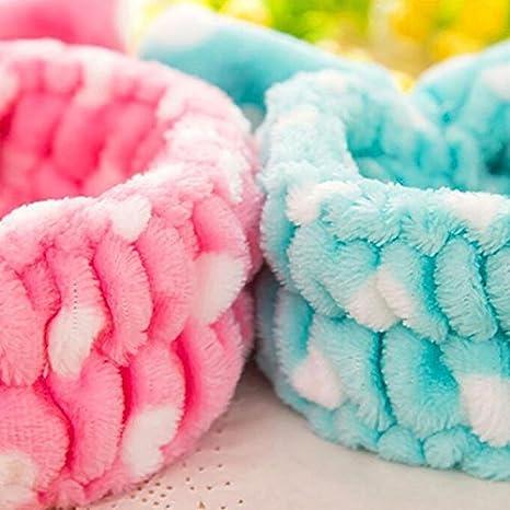 Massaggi e Sportivi Blue Monbedos Dots Bowknot Fascia Asciugamano per Capelli Fascia in Pile Corallo Donna per Make-up Doccia Spa