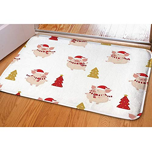 Indoor Area Rugs Living Room Carpets Home Decor Rug Bedroom Floor Mats,Cute Pig red Winter Costume