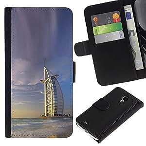 KLONGSHOP // Tirón de la caja Cartera de cuero con ranuras para tarjetas - Burj Dubai - Samsung Galaxy S4 Mini i9190 //