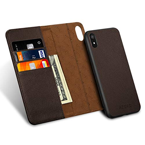 AZOFO iPhone XR Wallet Case, iPhone XR Case, [2 in 1] Detachable Magnetic Case, [Cowhide Leather] Slim Flip Folio Cover, Card Holder Slots, Kickstand, [Gift Box Package] Compatible iPhone XR, Brown