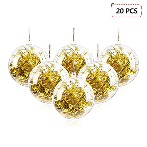 Mbuynow 20 Pack 50mm Clear Ornaments Balls, DIY Plastic Fillable Christmas Decorations Tree Balls Baubles Craft Transparent Ball Gifts for Wedding Party -