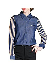 Scecent Women's Occupational Stitching Striped Long-Sleeved Denim T-Shirt