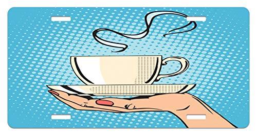 ense Plate, Woman Hand Holding A Hot Tea Cup Comic Strip Pop Art Retro Kitsch Illustration, High Gloss Aluminum Novelty Plate, 5.88 L X 11.88 W Inches, Ivory Sky Blue ()
