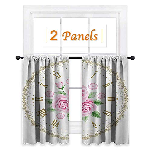 shenglv Shabby Chic Waterproof Window Curtain Vintage Clock Face Roses Roman Numbers Antique Vintage Style Room Darkening Wide Curtains W55 x L45 Pale Pink Green Dark ()