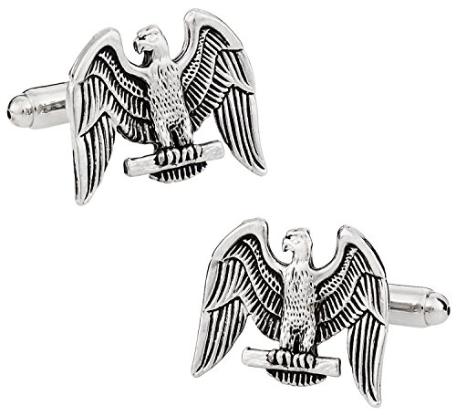 Cuff-Daddy Silver American Eagle Patriotic Cufflinks with Presentation Box