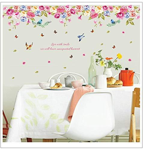 qingyuge Wall Sticker Bird Language Potpourri Wall Sticker Living Room Background Wall Stickers Home Decor Living Room Wall Decals Flowers]()