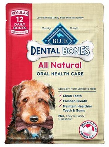 - Blue Buffalo Blue Regular Bones Dental Chews (Pack of 2, 12-oz bags)