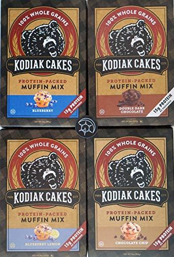 (  Kodiak Muffin Mix - Try them all - Plus Unique Fridge Magnet - Blueberry, Blueberry Lemon, Double Chocolate and Chocolate Chip Kodiak Cakes Muffin Mixes)