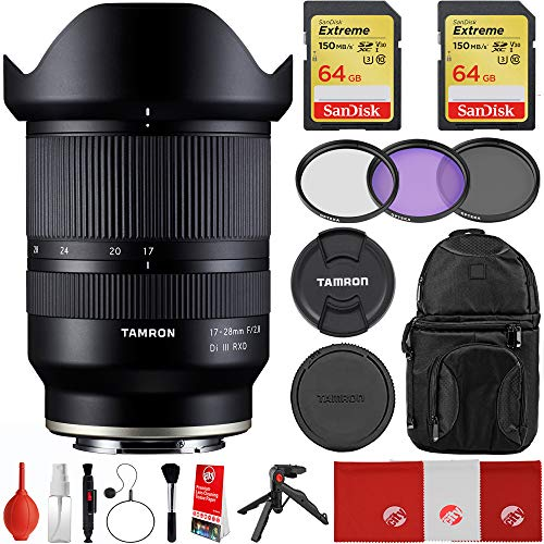 Tamron 17-28mm f / 2.8 Di III RXD برای Sony Mirrorless Full Frame E Mount Bundle با کارتهای حافظه Sandisk 2X 64GB ، کیسه های کشویی کوله پشتی ، کیت فیلتر سه تکه ، مینی سه پایه و نگهدارنده لنز