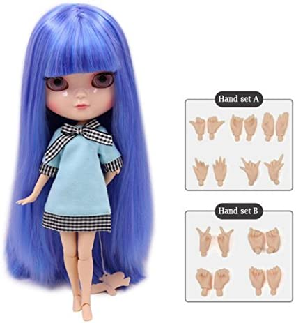 "12/"" Neo Blythe NudeDoll from Factory Jointed Body Light Blue Hair With Bang"