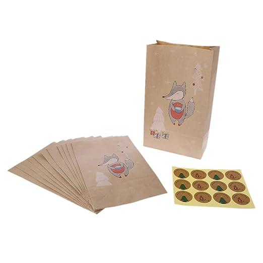 Juego de 12 piezas/Fox alce navidad papel kraft bolsa Xmas ...