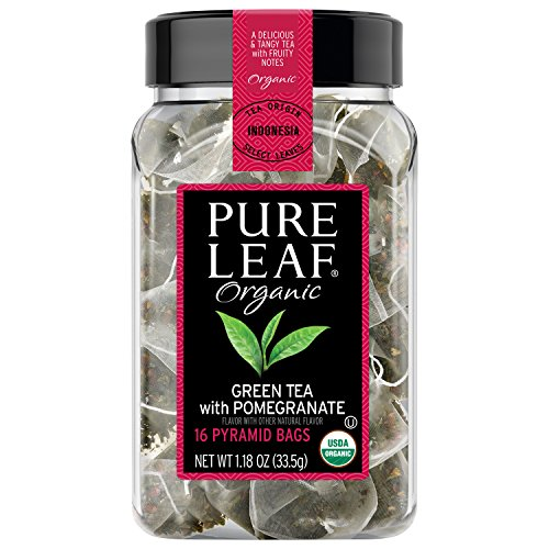 Pure Leaf Hot Tea Bags Organic Green Tea with Pomegranate 16 ct, pack of 6