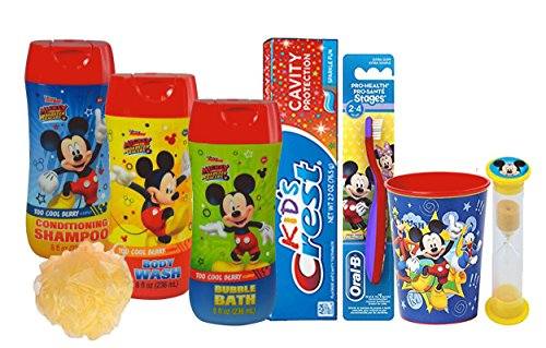 Disney Mickey Mouse All Inclusive Bath Time Stocking Stuffer Set! Includes Body Wash, Shampoo, Bubble Bath, Toothbrush, Toothpaste, Brushing Timer & Mouthwash Rinse Cup!