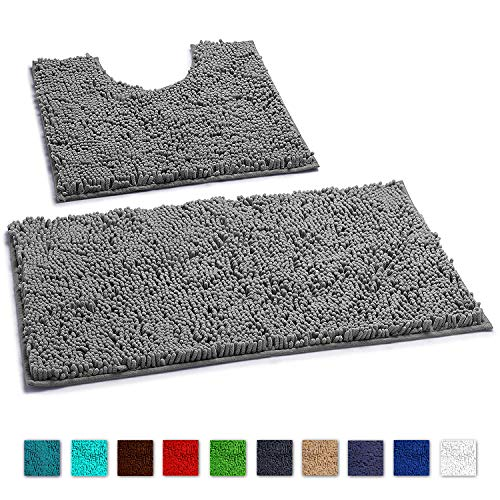 LuxUrux Bathroom Rugs Luxury Chenille 2-Piece Bath Mat Set, Soft Plush Anti-Slip Shower Rug +Toilet Mat.1'' Microfiber Shaggy Carpet, Super Absorbent Machine Washable Mats (Curved Set, Light Grey) from LuxUrux