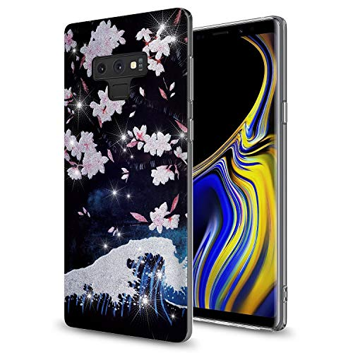 GORGCASE Galaxy Note 9 Case with Screen Protector,Slim Anti-Scratch PC Armor Shockproof Cute Sparkle Bling Girls Women Protective Cover for Samsung Galaxy Note 9 (2018) 6.4 Inch Cherry Blossom