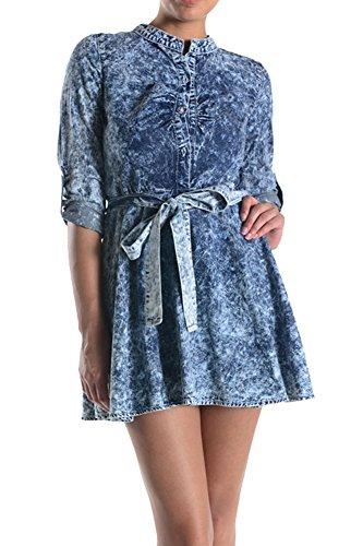 Américain Ressort De Bleu Robe Automne Denim Femmes Bazi