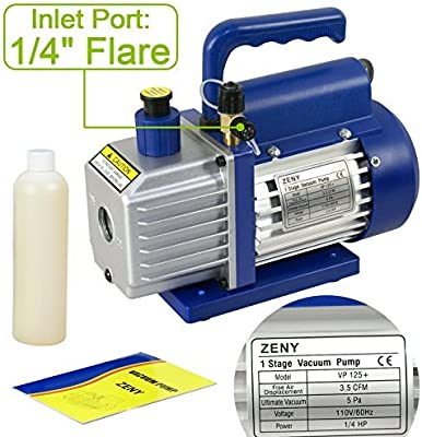 Zeny 3 5cfm Single Stage 5 Pa Rotary Vane Economy Vacuum