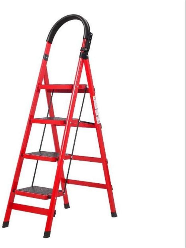 Asnails Escalera De 4 Peldaños Escalera De Banqueta Plegable con Empuñadura De Goma Y Pedal Ancho Multiuso para El Hogar Y La Oficina, Capacidad De Carga De 600 Kg, Rojo: Amazon.es: Hogar