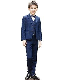 87d20daea2cdb 子供服 タキシード 男の子 フォーマル スーツ キッズスーツ チェック柄 コート+リボン+ベスト+