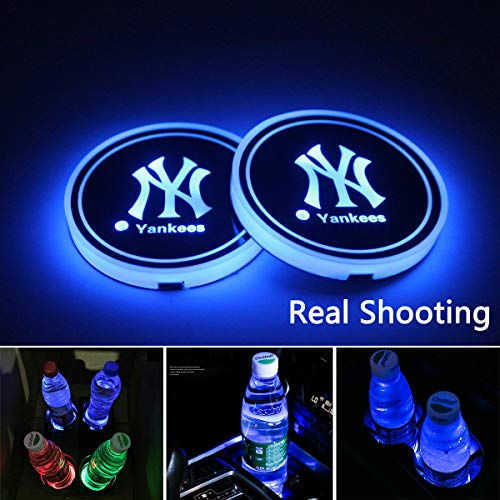 2pcs LED New York Yankees Logo Cup Holder Lights, 7 Colors Changing USB Charging Mat Luminescent Cup Pad, LED Interior Atmosphere - Car Accessories Yankees New York